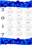 2017 calendar and blue bubbles. Design of White 2017 calendar with blue bubbles. All months of year are displayd vector illustration