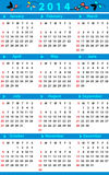 Calendar for 2014. Calendar with blue color and fluorish decorations Stock Photography