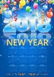 Calendar 2018 Vector royalty free illustration