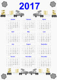 2017 calendar on blue design. Design of blue 2017 calendar with screws and trucks. All months of year are displayed stock illustration