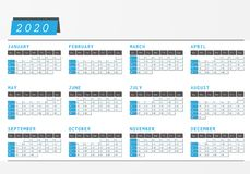 Year Calendar 2020 office horizontal design. Calendar 2020 in blue design with space for commercial text Royalty Free Stock Image