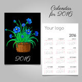 2016 Calendar with blue flowers in a wicker basket. Vector calendar 2016 with blue flowers in a wicker basket Royalty Free Stock Photo