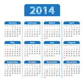 Calendar 2014 blue. Blue glossy calendar for 2014. Sundays first. Vector illustration Stock Images