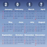2017 calendar on blue gradient background. Stock vector Royalty Free Stock Photos