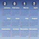 2017 calendar on blue gradient background. Stock vector Stock Illustration