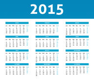 2015 calendar in blue halftone style (Monday to Sunday) in Spani Stock Photo