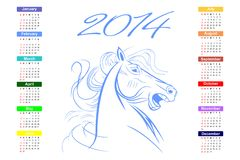 Calendar for 2014 blue horse. stock photography