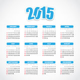 Calendar 2015. With blue labels Royalty Free Stock Photo
