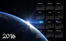 2016 Calendar - blue Planet Stock Image