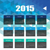 Calendar 2015 with Blue Triangles Mosaic Background Royalty Free Stock Photos
