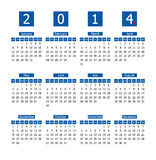 Calendar. For 2014 blue and white Royalty Free Stock Photography