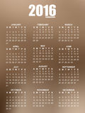 Calendar of 2016 with blurred background royalty free illustration