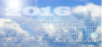 Calendar 2016 with blurred clouds. In background, vector illustration, eps 10 with transparency and gradient meshes Royalty Free Stock Images