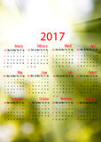 2017 Calendar. blurred natural background. 2017 Calendar. Beautiful blurred natural background Stock Image