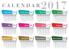 Calendar 2017 Bodoni font. Gray and coloured calendar 2017 Royalty Free Stock Photography