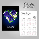 Calendar with a bouquet of heart shape Stock Images