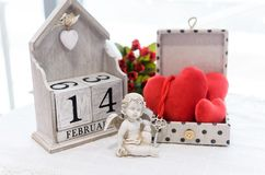 Postcards From Happy Valentine`s Day Stock Photo