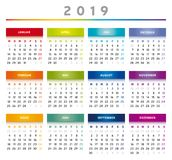 2019 Calendar with Boxes in Rainbow Colors 4 Columns - German. 2019 Calendar with Boxes in Rainbow Colors and in Table Shape. German Language stock illustration