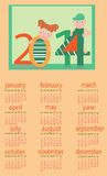Calendar for 2014. With boy and girl Royalty Free Illustration