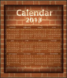 Calendar brick fireplace 2013. Template texture Stock Image