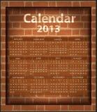Calendar brick fireplace 2013. Template texture stock illustration