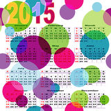 Calendar with bright colored balls. Calendar with bright colorful balls for 2015 (vector, eps 10 royalty free illustration