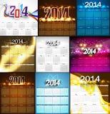 2014 Calendar bright colorful collection design il Stock Photo