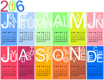 2016 calendar in bright colours. Colorful jazzy 2016 calendar, vector, eps 10 Stock Image
