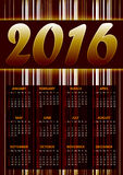 Calendar for 2016 on brown. Abstract background with glittering stripes.Vector illustration vector illustration
