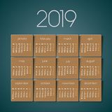 2019 calendar. Brown texture royalty free stock photography