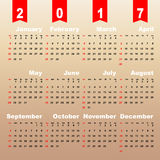 2017 calendar on brown gradient background Royalty Free Stock Photo