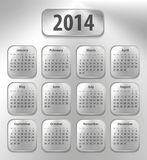 Calendar for 2014 on brushed metal tablets. Sundays first. Vector illustration Stock Photography