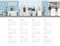 Calendar 2017. Business people working in the office, 2017 wall calendar Stock Photo
