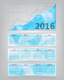 2016 calendar with business statistics chart showing different g Stock Photography