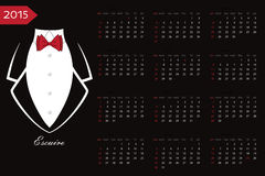 Calendar.Business tuxedo with a red bow tie. New year 2015 celebration European calendar.Business tuxedo background with a red bow tie and copy space.Flat vector Royalty Free Stock Photography
