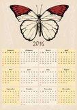 Calendar for 2016 with butterfly Stock Images