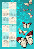Calendar for 2016 with butterfly Stock Photography