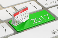 2017 calendar button on the keyboard, 3D rendering. 2017 calendar button on the keyboard stock illustration