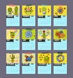 Calendar for 2017 of cacti, succulents Stock Photos