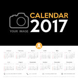 Calendar 2017. Calendar Blank template Week starts from Sunday. Calendar vector eps10 Royalty Free Stock Image