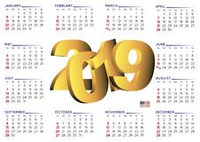 2019 calendar english horizontal USA Royalty Free Stock Images