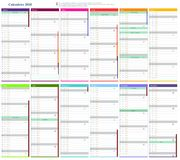Calendar 2018. Month with different colors Royalty Free Stock Photos