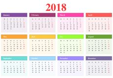 Calendar 2018 Royalty Free Stock Photography