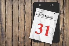 Calendar. New year`s eve new year`s day december january nye wall Royalty Free Stock Photography