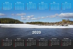 Calendar for 2020. royalty free illustration
