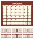 Calendar 2018. Calendar for 2016 spanish language Royalty Free Illustration