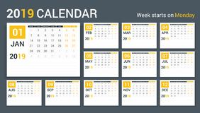 2019 Calendar. Template, planner, 12 pages, week starts on Monday Stock Photography