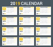2019 Calendar. Template, planner, 12 pages, week starts on Monday stock illustration