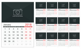 2018 Calendar. Template, a3 size, place for your photo, 12 pages Stock Image
