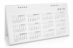 Calendar of 2019. On white background royalty free stock photography